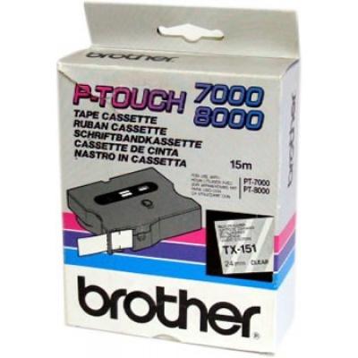 Brother TX-151, 24mm x 15m, fekete nyomtatás / átlátszó alapon, eredeti szalag