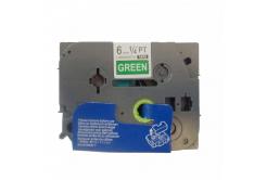 Utángyártott szalag Brother TZ-715 / TZe-715, 6mm x 8m, fehér nyomtatás / zöld alapon
