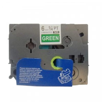 Brother TZ-715 / TZe-715, 6mm x 8m, fehér nyomtatás / zöld alapon, kompatibilis szalag