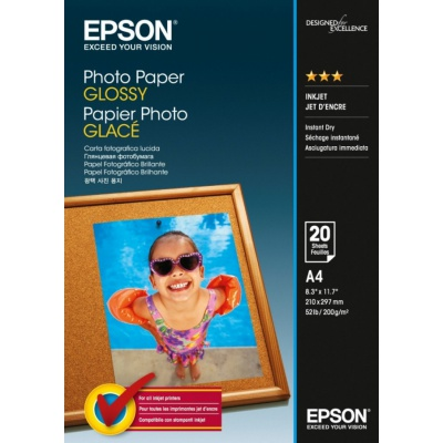 Epson S042538 Photo Paper, fényes fehér fotópapírok, A4, 200 g/m2, 20 db