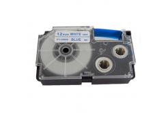 Casio XR-12WEB 12mm x 8m kék nyomtatás / fehér alapon, kompatibilis szalag