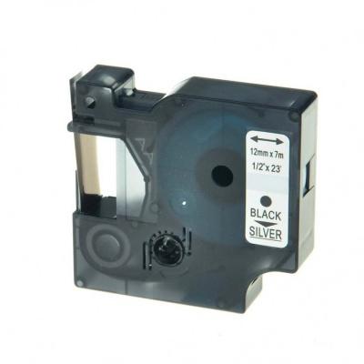 Dymo 45022, 12mm x 7m fekete nyomtatás / ezüst alapon, kompatibilis szalag