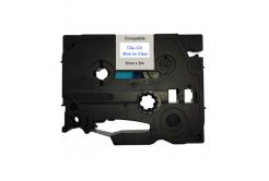 Brother TZ-123 / TZe-123, 9mm x 8m, kék nyomtatás / átlátszó alapon, kompatibilis szalag