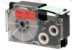 Casio XR-18RD1, 18mm x 8m fekete nyomtatás / piros alapon, kompatibilis szalag