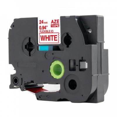 Brother TZ-FX252 /TZe-FX252, 24mm x 8m, flexi, piros nyomtatás / fehér alapon, kompatibilis szalag