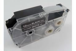 Casio XR-12ABK, 12mm x 8m fehér nyomtatás / fekete alapon, kompatibilis szalag