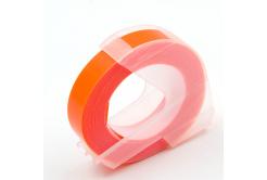 Dymo Omega, 9mm x 3m, fehér nyomtatás / fluoreszkálás narancssárga alapon, kompatibilis szalag