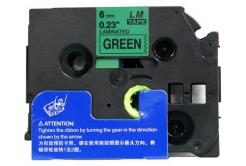 Utángyártott szalag Brother TZ-711 / TZe-711, 6mm x 8m, fekete nyomtatás / zöld alapon