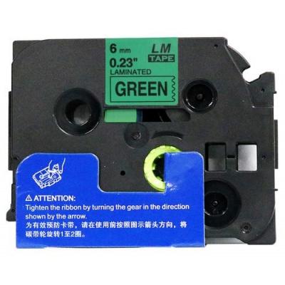 Brother TZ-711 / TZe-711, 6mm x 8m, fekete nyomtatás / zöld alapon, kompatibilis szalag