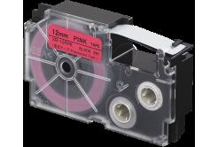 Casio XR-12FPK , 12mm x 8m, fekete nyomtatás /fluoreszkáló rózsaszínű alapon, utángyártott szalag