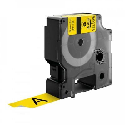 Dymo 18433, 19mm x 5, 5m fekete nyomtatás / sárga alapon, vinyl, kompatibilis szalag