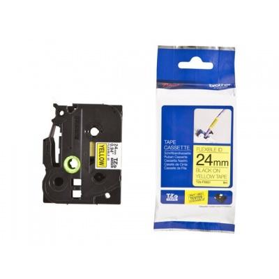 Brother TZ-FX651/TZe-FX651 24mm x 8m, flexi, fekete nyomtatás/sárga alapon, kompatibilis szalag