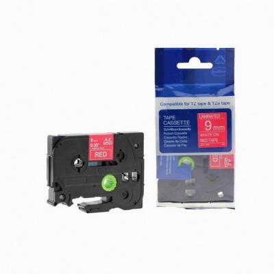 Brother TZ-425 / TZe-425, 9mm x 8m, fehér nyomtatás / piros alapon, kompatibilis szalag