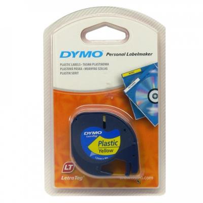 Dymo LetraTag 59423, S0721570, 12mm x 4m, fekete nyomtatás/sárga alapon, eredeti szalag