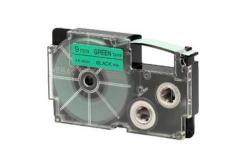 Casio XR-9GN1, 9mm x 8m, fekete nyomtatás / zöld alapon, eredeti szalag
