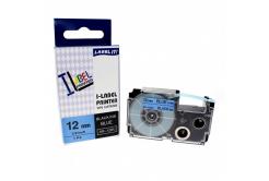 Casio XR-12BU1, 12mm x 8m fekete nyomtatás / kék alapon, kompatibilis szalag