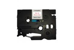 Brother TZ-152 / TZe-152, 24mm x 8m, piros nyomtatás / átlátszó alapon, kompatibilis szalag