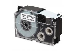 Utángyártott szalag Casio R11WE 18mm x 2,5m zsugorcső, fekete nyomtatás / fehér alapon