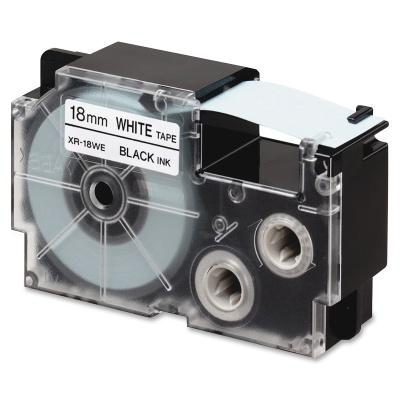 Casio R11WE 18mm x 2,5m zsugorcső, fekete nyomtatás / fehér alapon, kompatibilis szalag