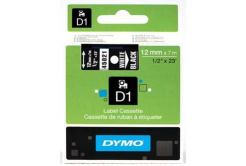 Dymo D1 45021, S0720610, 12mm x 7m fehér nyomtatás / fekete alapon, eredeti szalag