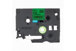 Brother TZ-FX751 / TZe-FX751,24mm x 8m, flexi, fekete nyomtatás / zöld alapon, kompatibilis szalag