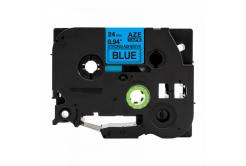 Brother TZ-S551 / TZe-S551, 24mm x 8m, extr.adh. fekete nyomtatás / kék alapon, kompatibilis szalag