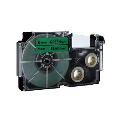 Casio XR-6GN1, 6mm x 8m fekete nyomtatás / zöld alapon, kompatibilis szalag