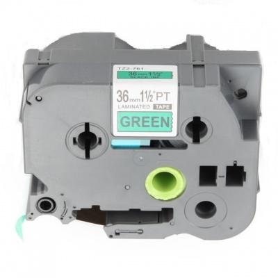 Brother TZ-761 / TZe-761, 36mm x 8m, fekete nyomtatás / zöld alapon, kompatibilis szalag