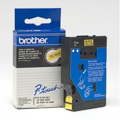 Brother TC-601, 12mm x 7,7m, fekete nyomtatás / sárga alapon, eredeti szalag