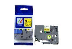 Brother TZ-FX621/TZe-FX621 9mm x 8m, flexi, fekete nyomtatás / sárga alapon, kompatibilis szalag