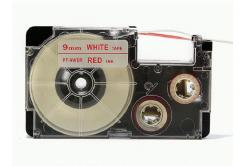 Casio XR-9WER 9mm x 8m piros nyomtatás / fehér alapon, kompatibilis szalag