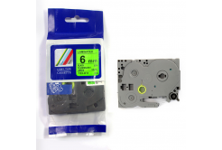 Brother TZ-D11/TZe-D11, rikítós 6mm x 8m, fekete nyomtatás/zöld alapon, kompatibilis szalag
