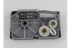 Utángyártott szalag Casio XR-9ABK 9mm x 8m fehér nyomtatás / fekete alapon