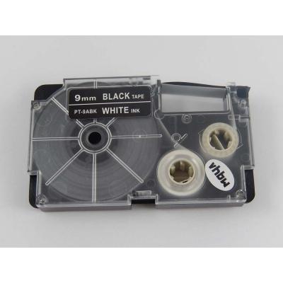 Casio XR-9ABK 9mm x 8m fehér nyomtatás / fekete alapon, kompatibilis szalag