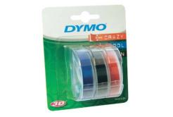 Dymo S0847750, 9mm x 3 m, fehér nyomtatás/fekete, kék, piros, eredeti szalag