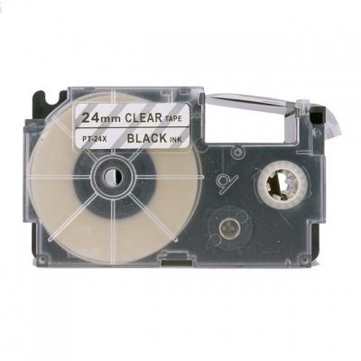 Casio XR-24X1, 24mm x 8m fekete nyomtatás / átlátszó alapon, kompatibilis szalag