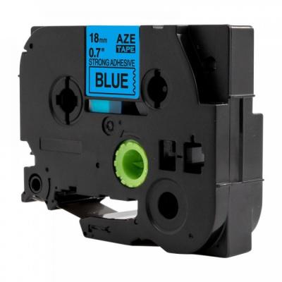Brother TZ-S541 / TZe-S541, 18mm x 8m, extr.adh. fekete nyomtatás / kék alapon, kompatibilis szalag