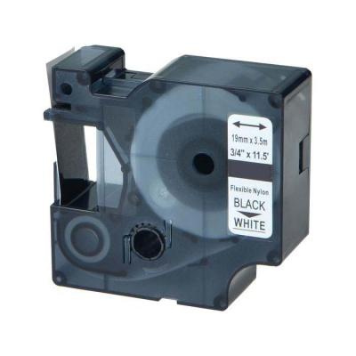 Dymo 18489, 19mm x 3, 5m fekete nyomtatás / fehér alapon, nylon flexi, kompatibilis szalag