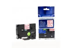 Brother TZ-132 / TZe-132, 12mm x 8m, piros nyomtatás / átlátszó alapon, kompatibilis szalag