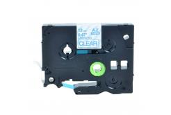 Brother TZ-133 / TZe-133, 12mm x 8m, kék nyomtatás / átlátszó alapon, kompatibilis szalag