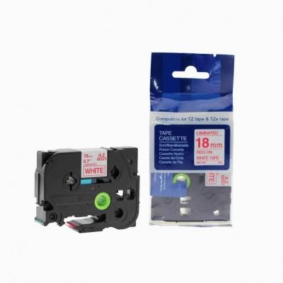 Brother TZ-242 / TZe-242, 18mm x 8m, piros nyomtatás / fehér alapon, kompatibilis szalag