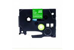 Brother TZ-755 / TZe-755, 24mm x 8m, fehér nyomtatás / zöld alapon, kompatibilis szalag