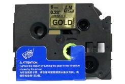 Utángyártott szalag Brother TZ-811 / TZe-811, 6mm x 8m, fekete nyomtatás / arany alapon