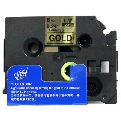 Brother TZ-811 / TZe-811, 6mm x 8m, fekete nyomtatás / arany alapon, kompatibilis szalag