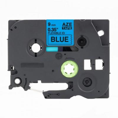 Brother TZ-FX521 / TZe-FX521, 9mm x 8m, flexi, fekete nyomtatás / kék alapon, kompatibilis szalag