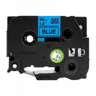 Brother TZ-S561 / TZe-S561, 36mm x 8m, extr.adh. fekete nyomtatás / kék alapon, kompatibilis szalag