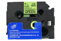 Brother TZ-D21/TZe-D21, rikítós 9mm x 8m, fekete nyomtatás/zöld alapon, kompatibilis szalag