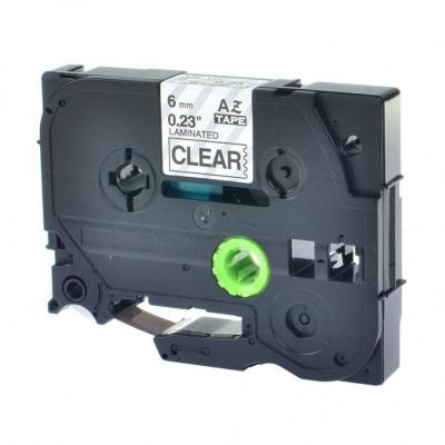 Brother TZ-S111/TZe-S111 6mm x 8m erősen ragadó, fekete nyomtatás/átlátszó alapon, kompatibilis szalag
