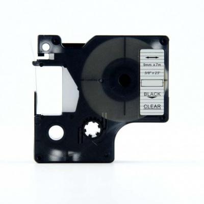 Dymo 40910, S0720670, 9mm x 7m fekete nyomtatás / átlátszó alapon, kompatibilis szalag