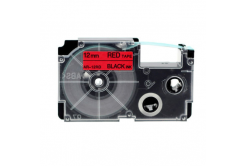 Casio XR-12RD1, 12mm x 8m fekete nyomtatás / piros alapon, kompatibilis szalag